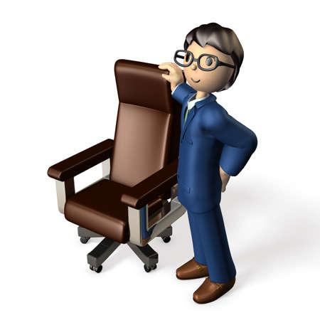大幹部の椅子。ビジネスマンの横に立っています。