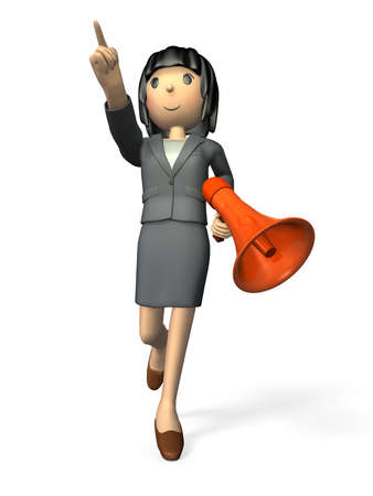 Woman in a suit is pointing  She has a handheld microphone  photo