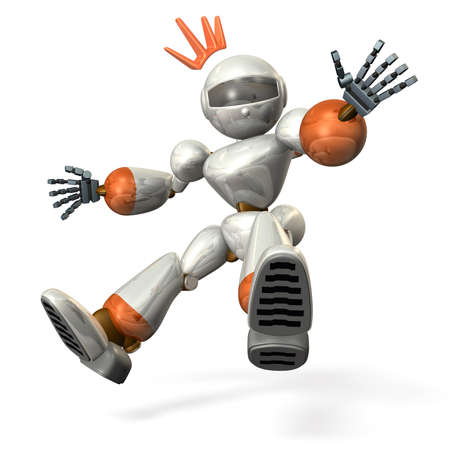 emergency braking: Robot was surprised,and it made   an emergency stop  Stock Photo