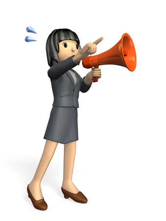 Woman with a handheld microphone  She is pointing into the distance