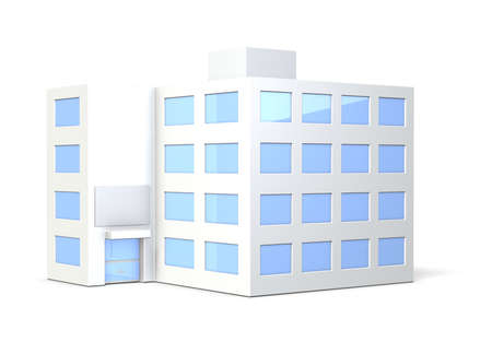 Miniature model of the office building,isolated,computer generated image