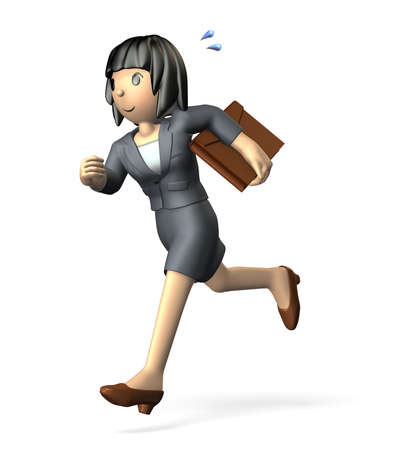 Young woman in a suit is running toward the left  photo