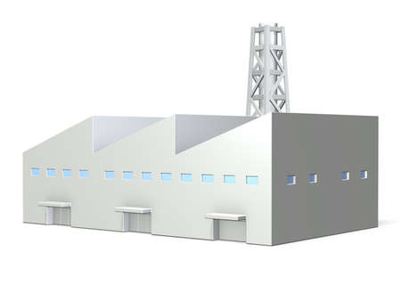 industrial factory: Big factory, it has triangle roof   isolated, computer generated image Stock Photo