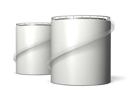 油タンク、隔離された、コンピューター生成画像のミニチュア モデル