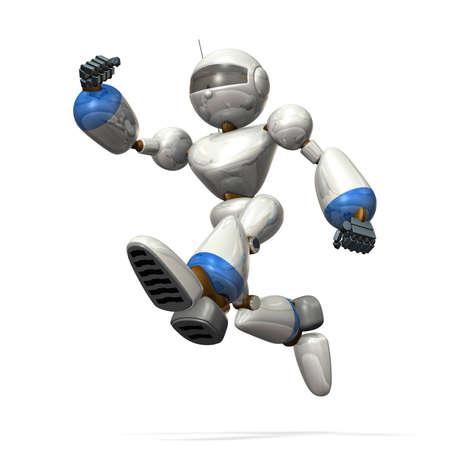 cheerfully: Robot is jumping cheerfully  Stock Photo
