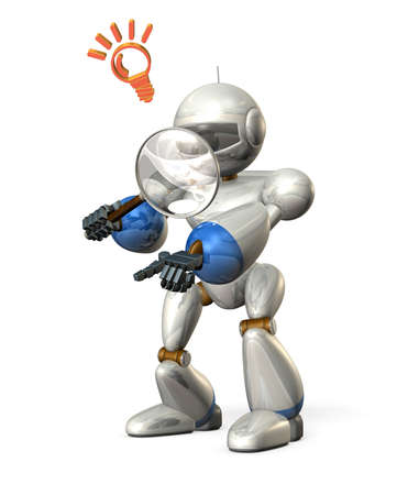 ascertain: Robot had a large magnifying glass  It is pointing to something  Stock Photo