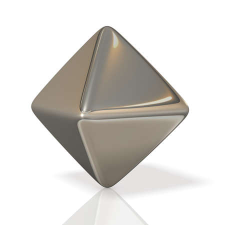polyhedron: metalic polyhedron,,isolated, computer generated image, Stock Photo