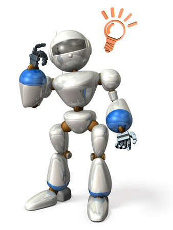 come up to: The robot will come up with a good idea   Stock Photo