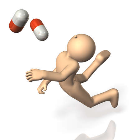 fell: He fell down  Capsule medicine is scattered  Stock Photo