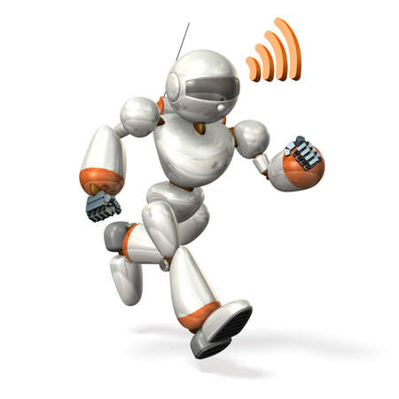 Robot running while communicating ,isolated, computer generated image, photo