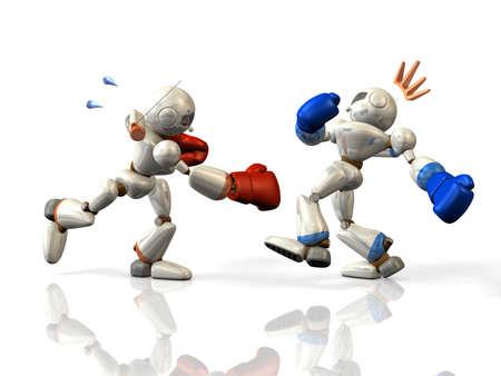knocked out: Dos robots con grandes Un guante anularon el otro extremo