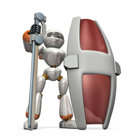 大剣と大型シールド ロボット兵士は、堅牢な防御を持っています。 写真素材