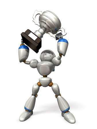 luster: Robot, has a metallic luster  He is winner,having championship cup