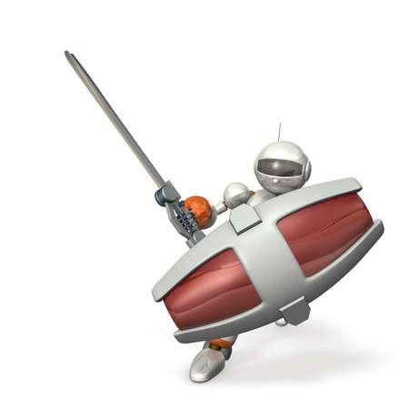 大型シールド、大型剣。ロボット兵の発生彼の剣。