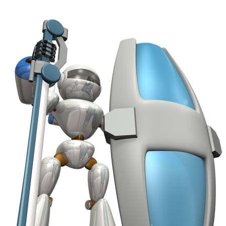 大剣と大型シールド ロボットの兵士がある強固な防御 写真素材