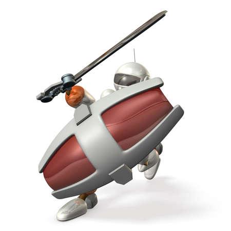 大型シールドは、ロボット兵と大剣は彼の剣を発生