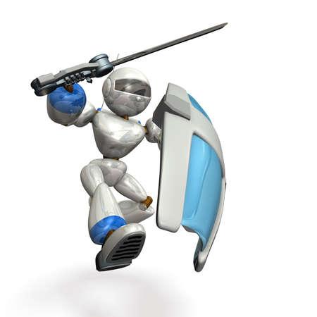 Large shield, large sword, robot assault.