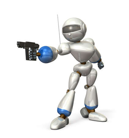 Robot made of metal  It is holding a pistol