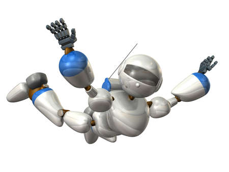 airborne: Robot to free fall,isolated, computer generated image Stock Photo