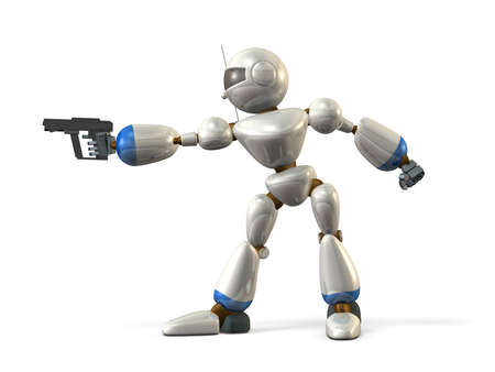Robot with a pistol  It aims target  Stock Photo
