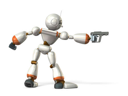 Robot with a pistol  It aims target  写真素材