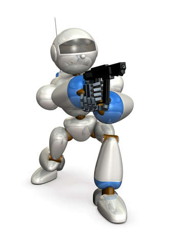 character assassination: Robot made of metal. It is holding a pistol.