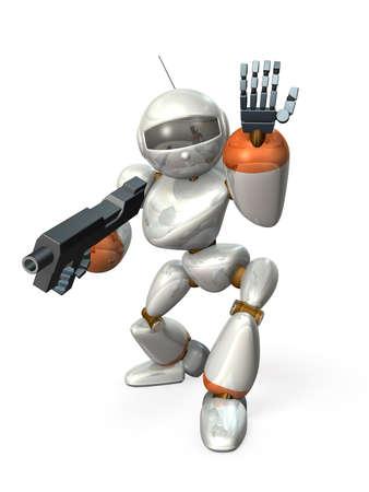 laden: Robot laden rifle. computer generated image,