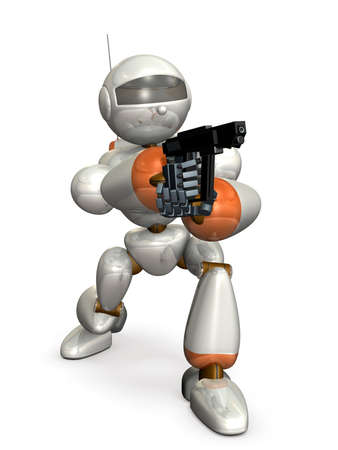 Robot made of metal. It is holding a pistol.