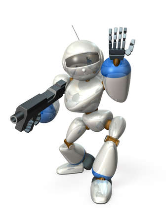 laden: Robot laden rifle. ,isolated, computer generated image, Stock Photo