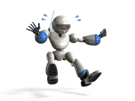 emergency braking: Robot was emergency stop. Isolated, computer generated image, Stock Photo