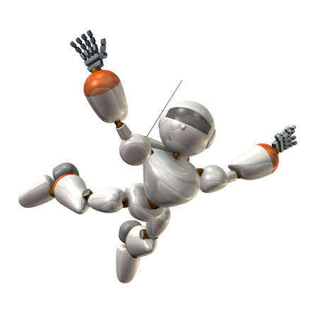 sky dive: Robot to free fall, isolated, computer generated image Stock Photo