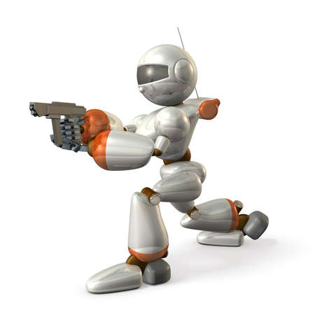 Robot is holding a handgun. Isolated, computer generated image,