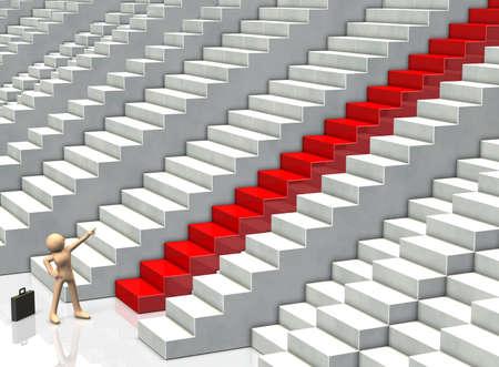 多くの選択肢からのビジネスマンは目標を目指しています。
