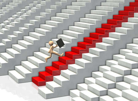 advanced: Businessman, has advanced his career from a lot of stairs. Stock Photo