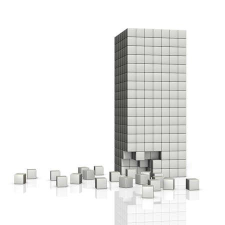 derrumbe: Imagen de bloques de concreto de colapso del edificio.