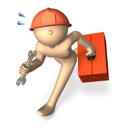 Engineer, running having a tool box. photo
