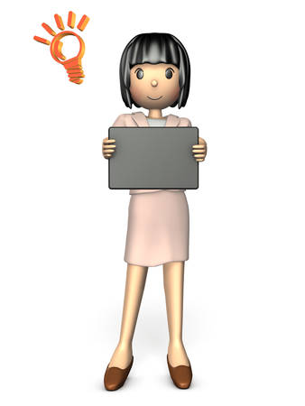 woman tablet: Young woman wearing a suit. She is showing the tablet.