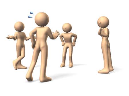 desconfianza: Una persona tiene un excuse.Three personas est�n sintiendo desconfianza.