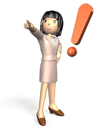 someone: Young woman wearing a suit. She is pointing someone.