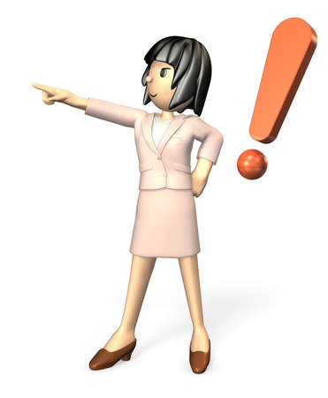 nomination: Young woman wearing a suit. She is pointing someone.