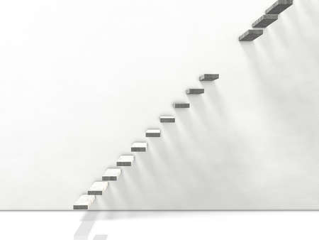 discontinuous: broken stairs. computer generated image