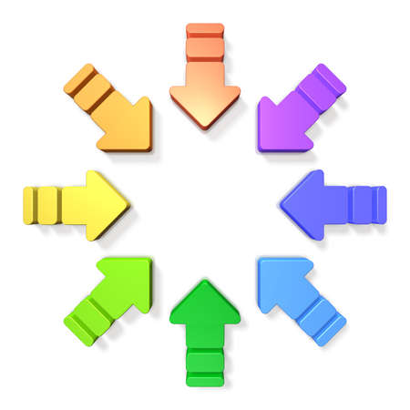 Eight arrows are gathered in a ring towards the center.