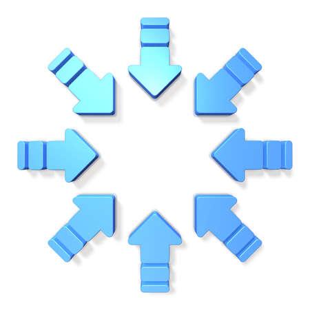 flechas: Ocho flechas se reunieron en un anillo hacia el centro. Foto de archivo