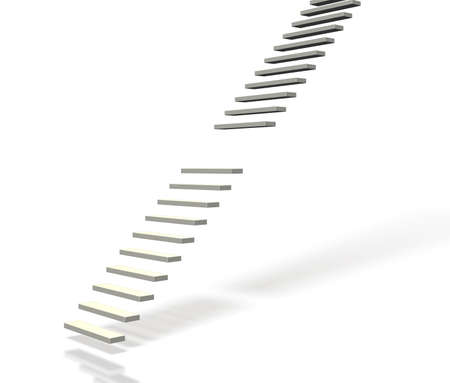 discontinuity: Broken stairs.isolated,computer generated image