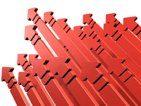 sublimation: Many arrows rush skyward. It represents a challenge. Stock Photo