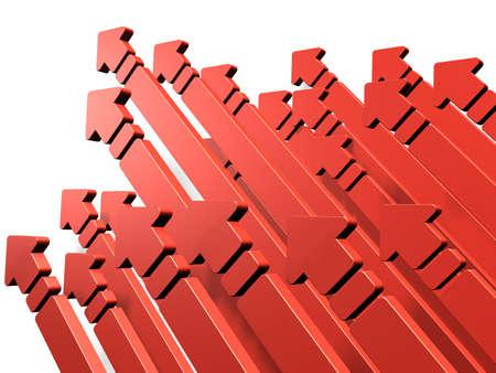 flechas: Muchas flechas se precipitan hacia el cielo. Representa un reto. Foto de archivo