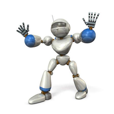両手を広げて、ロボットがブロックされています。分離、コンピューター生成画像 写真素材