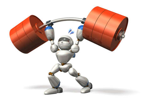 Robot in powerlifting, isolated, computer generated image, Stock Photo