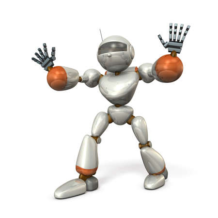 blocking: The robot with open arms, is blocking. isolated, computer generated image