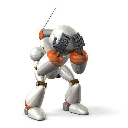arrepentimiento: Robot regrets while holding a head. isolated, computer generated image